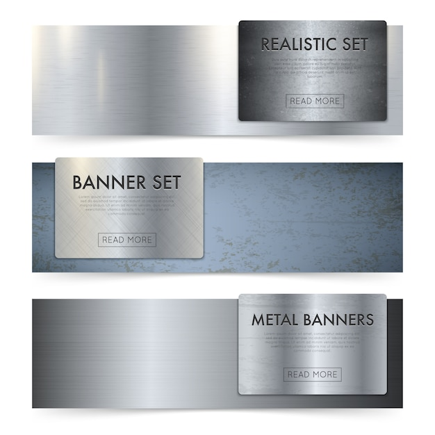 Folhas de metal textura realista banners set Vetor grátis