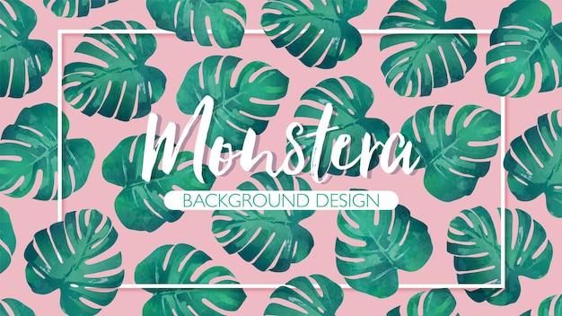 Folhas de monstera tropical desenhada à mão com moldura em fundo rosa Vetor Premium