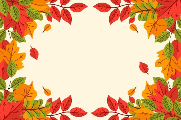 Folhas de outono desenhadas à mão fundo com espaço vazio Vetor grátis
