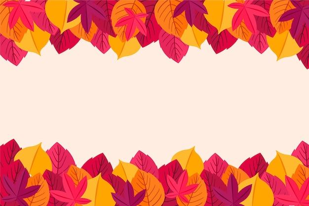 Folhas de outono design plano fundo do quadro Vetor Premium