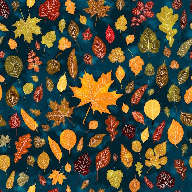 Folhas de outono sem costura de fundo Vetor Premium