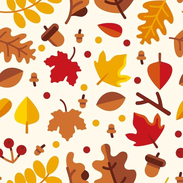 Folhas de outono sem costura padrão Vetor Premium