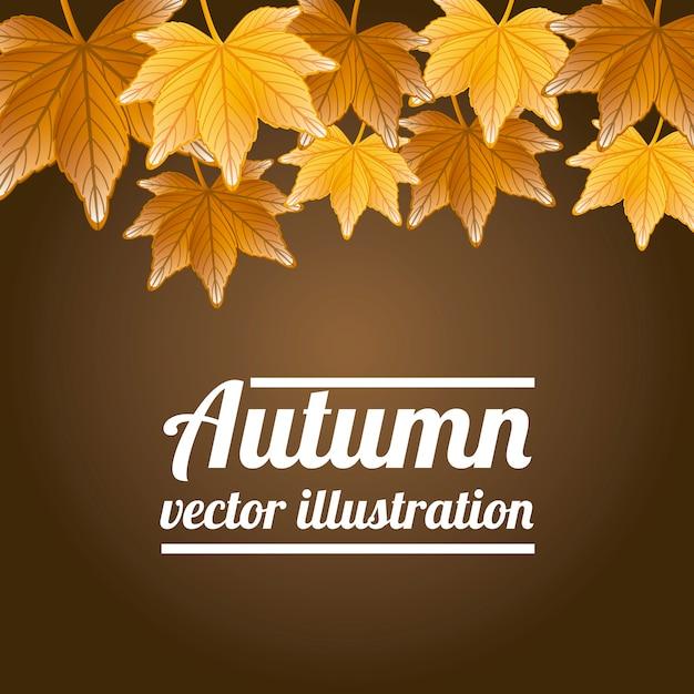 Folhas de outono sobre ilustração vetorial de fundo marrom Vetor Premium