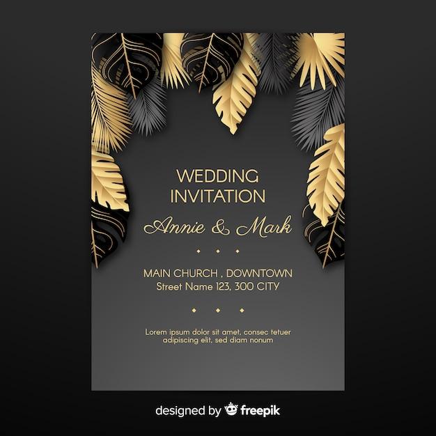Folhas de palmeira dourada casamento convite Vetor grátis