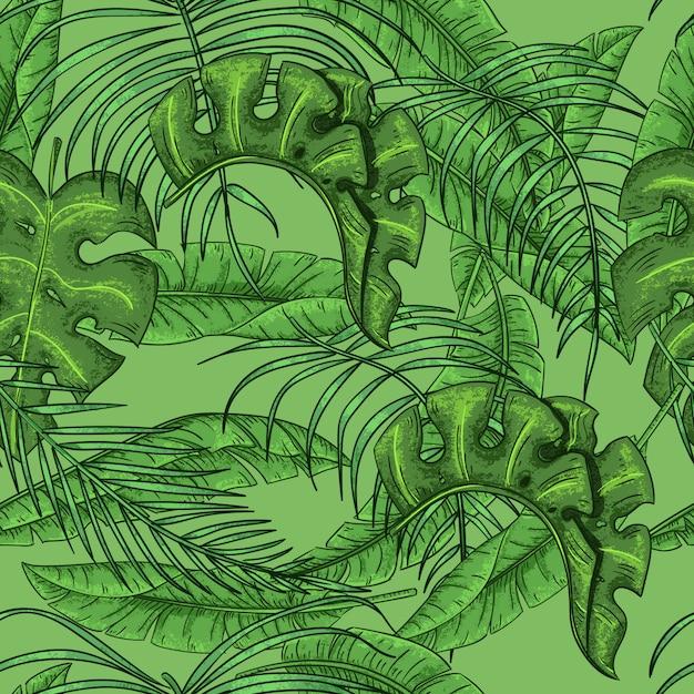 Folhas de palmeira tropical folhas exóticas folhas de palmeira floral padrão sem costura Vetor Premium