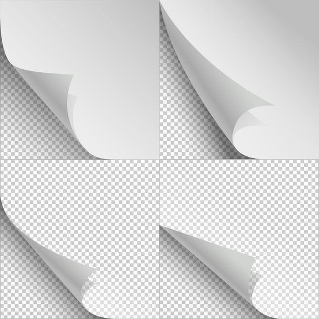 Folhas de papel em branco com ondulação de página e sombras Vetor Premium