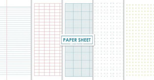 Folhas de papel forrado e coleção de pontos Vetor Premium