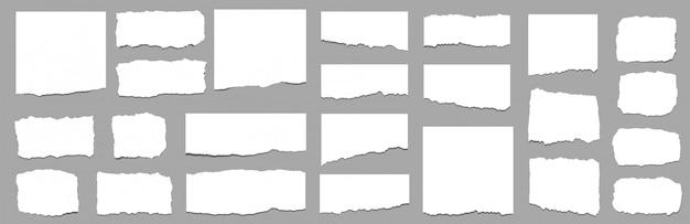 Folhas de papel rasgadas. conjunto de tiras de papel rasgado. vetor Vetor Premium