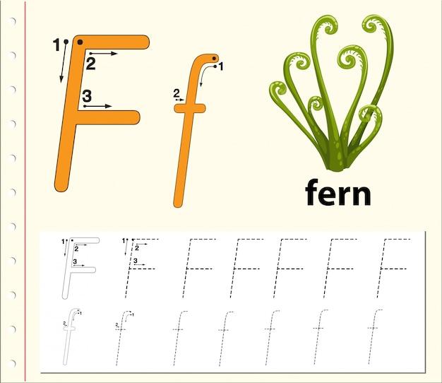 Folhas de trabalho do alfabeto de traçado da letra f Vetor Premium
