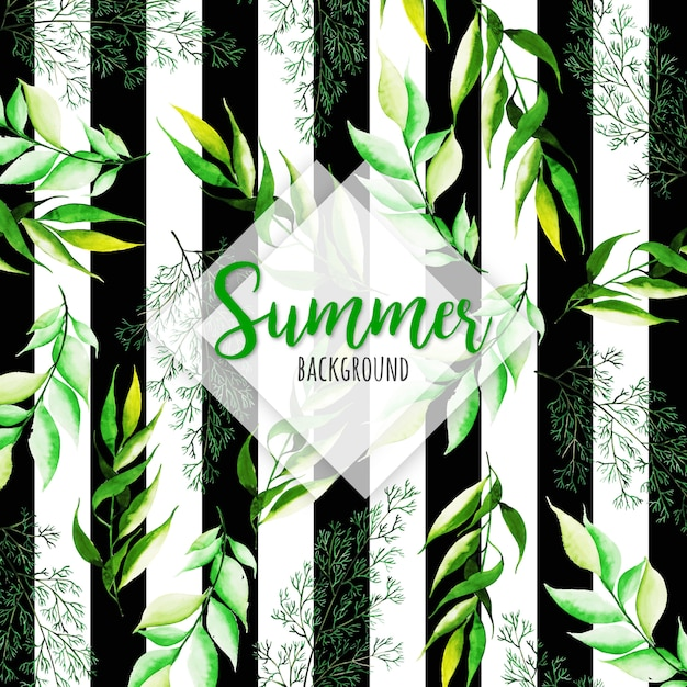 Folhas de verão aquarela com fundo de listras Vetor grátis