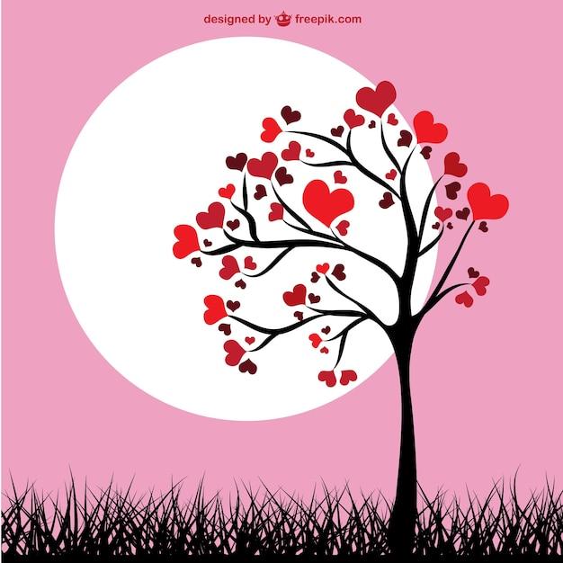 Folhas do coração árvore Vetor grátis