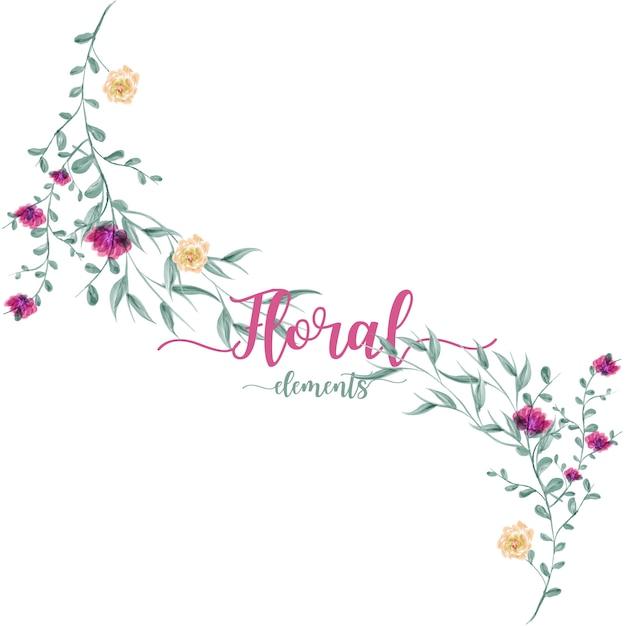 Folhas e flores desenho aquarela. Vetor Premium