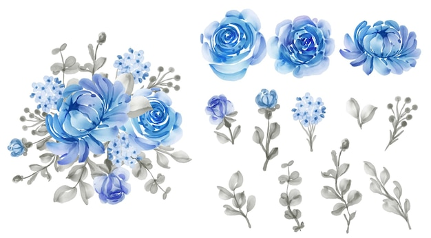 Folhas e flores isoladas em azul floral lindo Vetor grátis