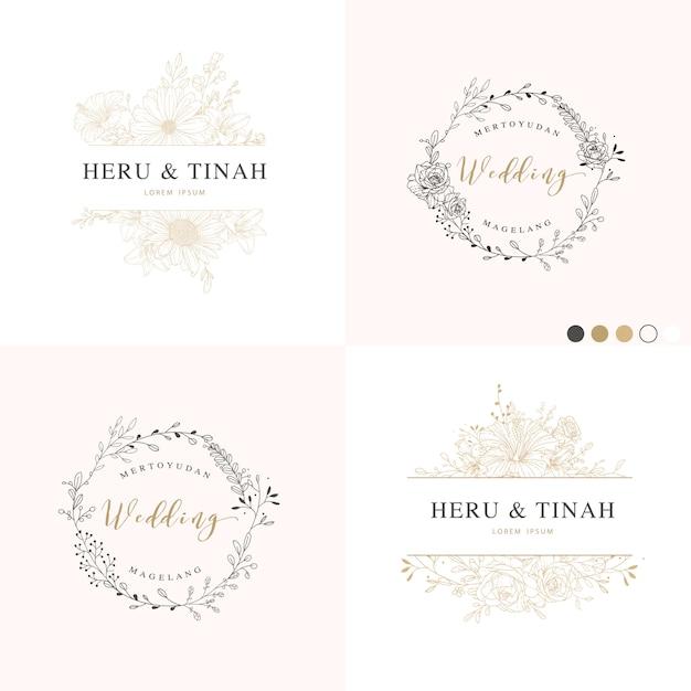 Folhas e ramos de moldura para convite de casamento Vetor Premium