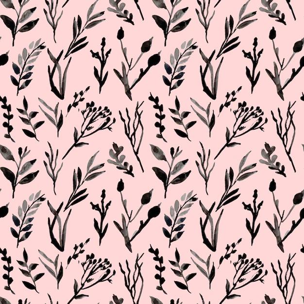 Folhas e ramos monocromáticos aquarela padrão sem emenda Vetor Premium
