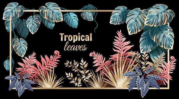 Folhas escuras de lianas e plantas da selva. Vetor Premium