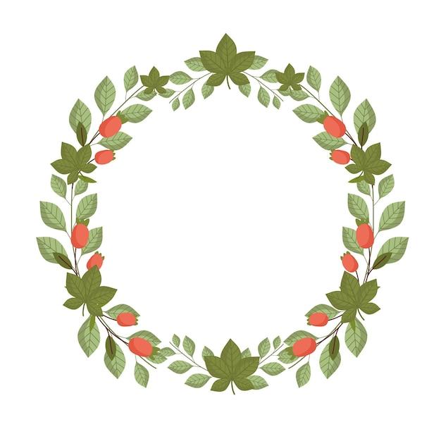 Folhas, flores, folhagem botânica, natureza, ilustração em forma de círculo Vetor Premium