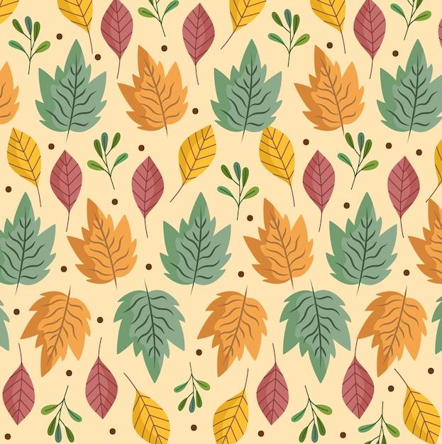Folhas folha ervas folhagem natureza decoração ilustração de fundo Vetor Premium