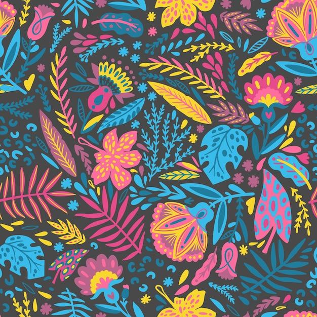 Folhas pintadas à mão e padrão de flores exóticas Vetor grátis