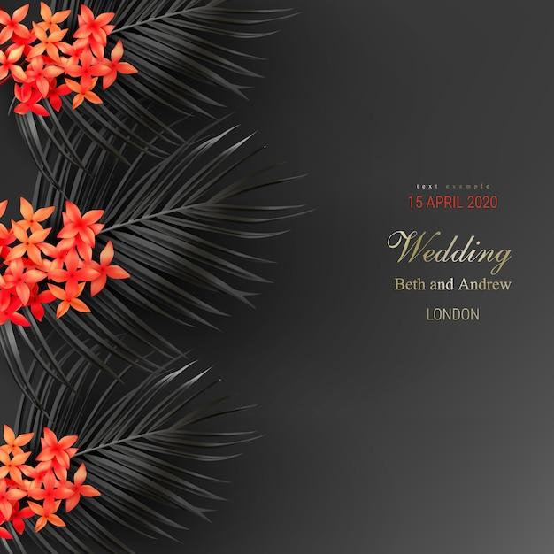 Folhas pretas tropicais e exótica flor vermelha no cartaz de vetor de fundo escuro Vetor grátis