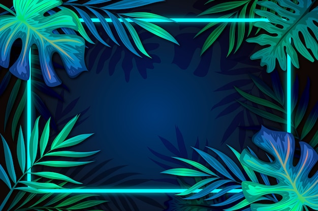 Folhas realistas com moldura de néon com espaço de cópia Vetor grátis