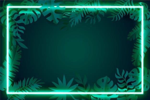 Folhas realistas com moldura de néon Vetor grátis