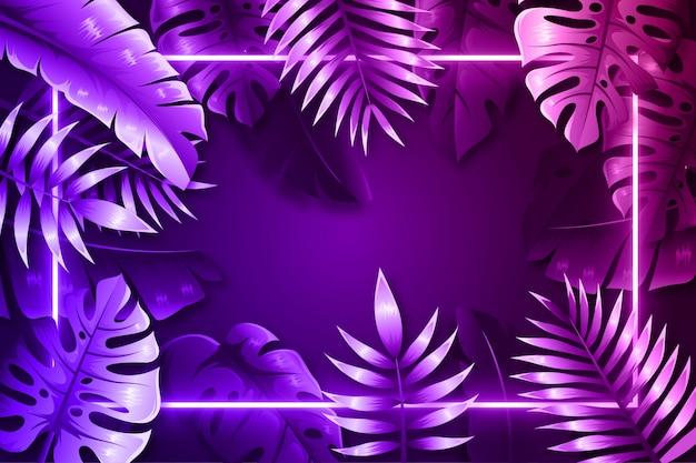 Folhas realistas roxas com moldura de néon Vetor Premium