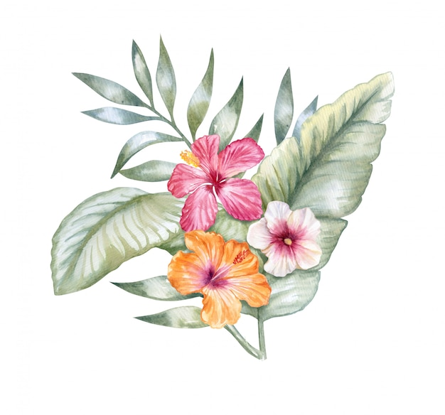 Folhas tropicais com flores de hibisco rosa Vetor Premium