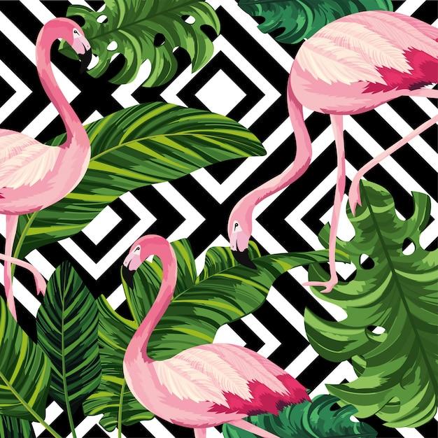Folhas tropicais com fundo flamengo e figuras Vetor Premium