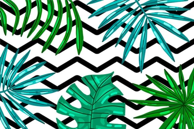 Folhas tropicais com fundo geométrico Vetor grátis
