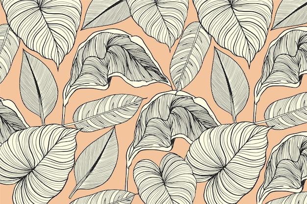 Folhas tropicais com fundo linear de cor pastel Vetor grátis