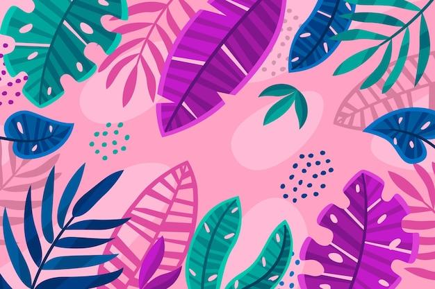 Folhas tropicais com fundo rosa funky Vetor grátis