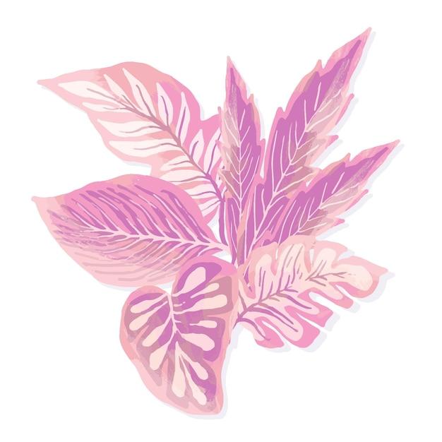 Folhas tropicais de design monocromático Vetor grátis