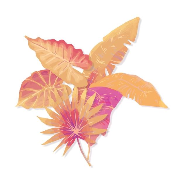 Folhas tropicais de estilo monocromático Vetor grátis