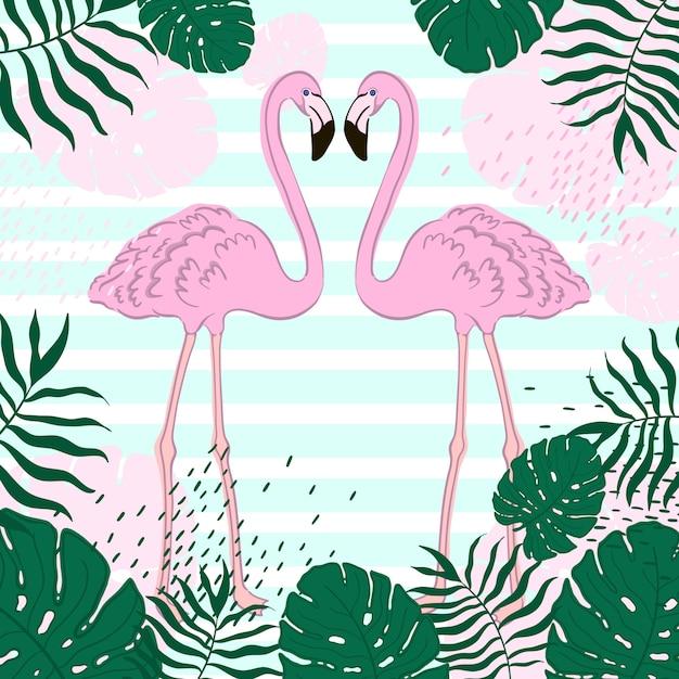 Folhas tropicais e bandeira de verão flamingo Vetor Premium