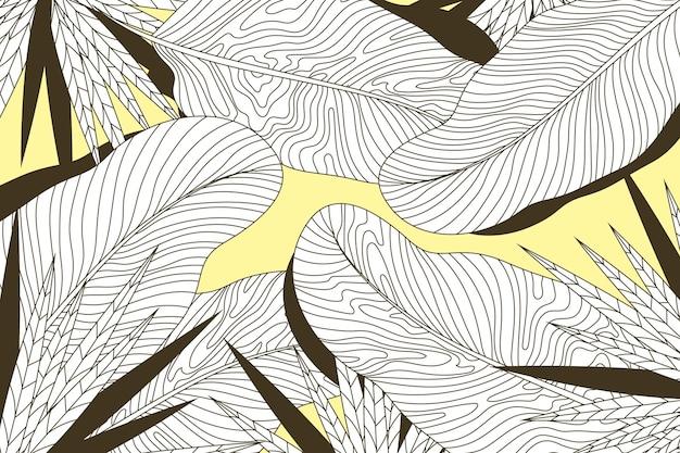 Folhas tropicais lineares com fundo de cor pastel Vetor grátis