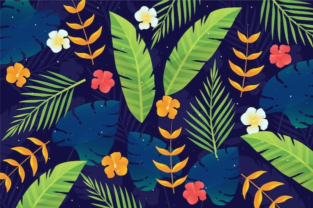 Folhas tropicais para zoom papel de parede Vetor grátis