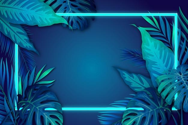 Folhas tropicais realistas com moldura de néon com espaço de cópia Vetor grátis