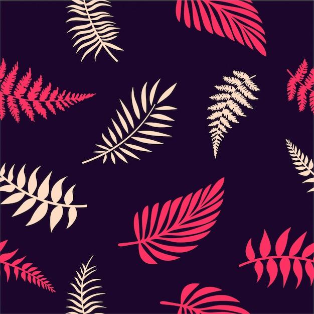 Folhas tropicais sem costura Vetor Premium