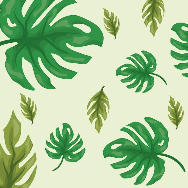 Folhas tropicais verdes com dois tons de verde, padrão natural Vetor grátis