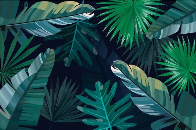 Folhas tropicais verdes e prateadas Vetor grátis