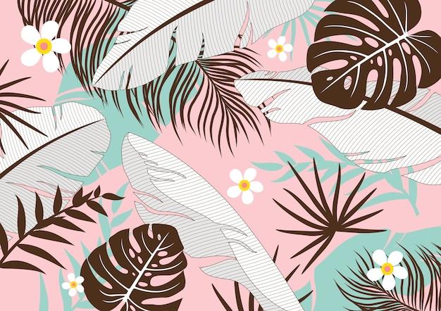 Folhas tropicais Vetor Premium