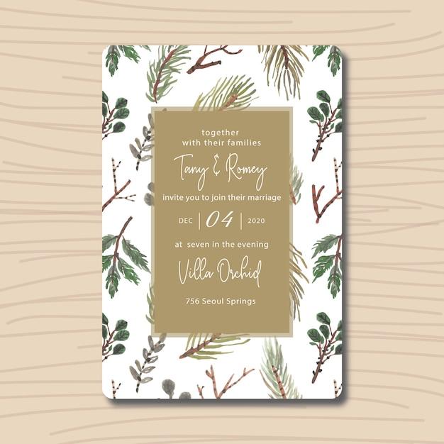 Folhas verdes de convite de casamento com aquarela Vetor Premium