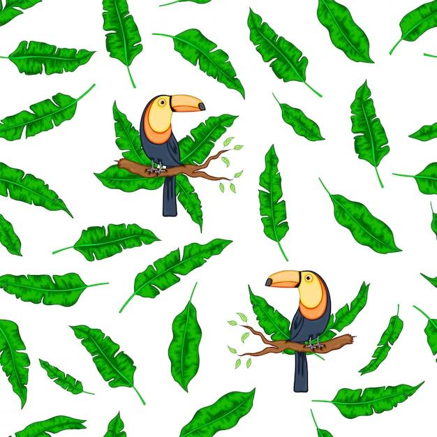 Folhas verdes tropicais pássaro tucano Vetor Premium
