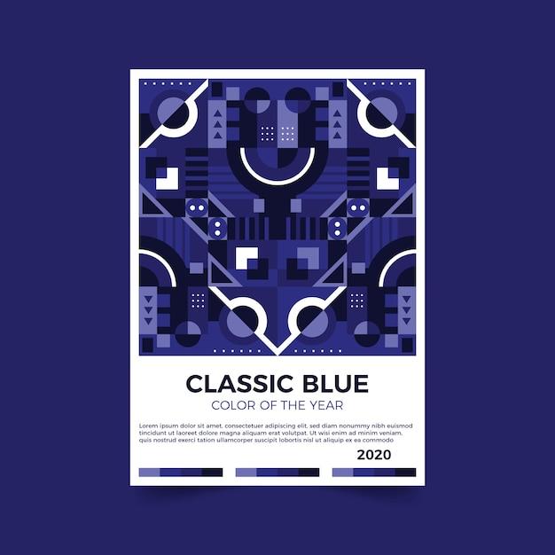 Folheto abstrato azul clássico de modelo Vetor grátis