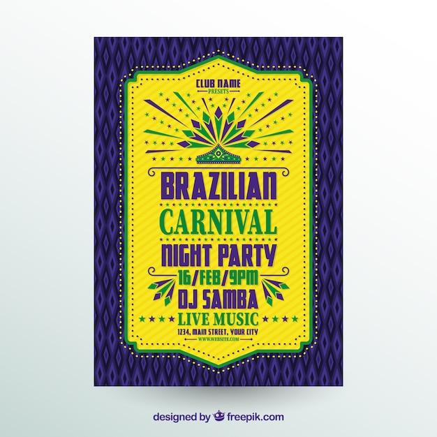 Folheto / cartaz plano do partido de carnaval brasileiro Vetor grátis