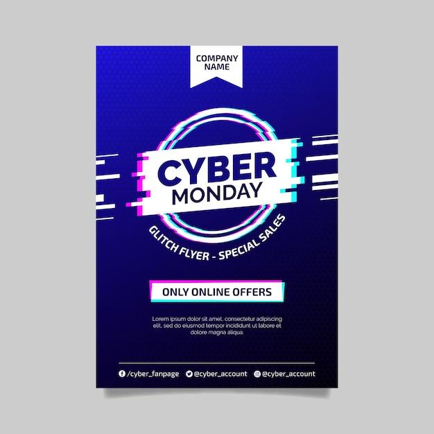 Folheto cibernético de modelo de falha Vetor Premium