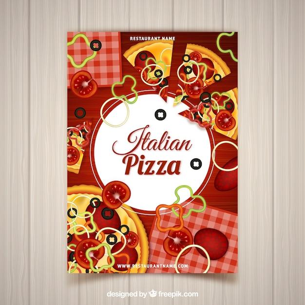 Folheto com ingredientes de pizza Vetor grátis