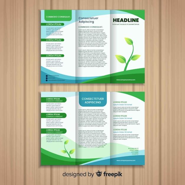 Folheto com três dobras da natureza Vetor grátis