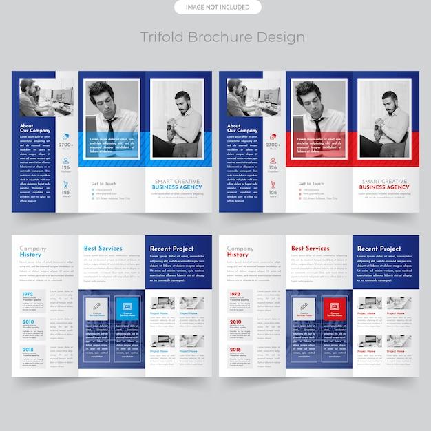 Folheto com três dobras de negócios Vetor Premium